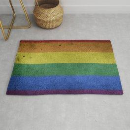 LGBTQ Rainbow Pride Flag (Weathered) Rug