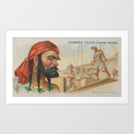 Vintage Blackbeard The Pirate Illustration (1888) Art Print