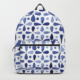 Imperfect Geometry Blue Petal Grid Backpack