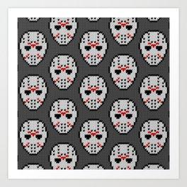Knitted Jason hockey mask pattern Art Print