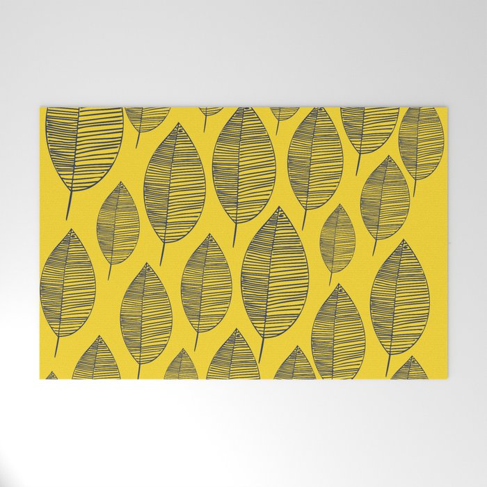 Yellow Navy Leaf Pattern Welcome Mat