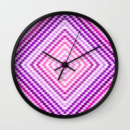 Pixel Diamond Pink Purple Lavender Wall Clock