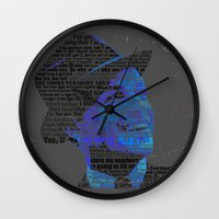 frank sinatra Wall Clocks featuring Typographic Icons - Frank Sinatra by Ben Sidney Rhys-Lewis