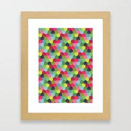Geometric Hexie Honeycomb Colorful Framed Art Print