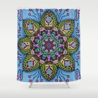 health Shower Curtains featuring Blue Health Mandala - מנדלה בריאות by dotan yiloz