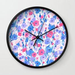 Flower Field Lilac Blue Wall Clock