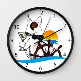 Elegant Bull terrier with helm Wall Clock