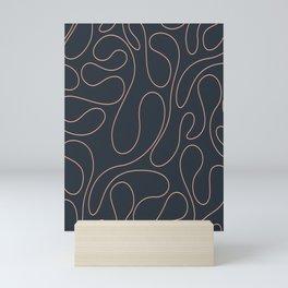 Peach Curves Blue Mini Art Print