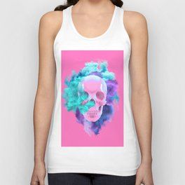 Colored Smoking Skull Unisex Tank Top