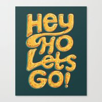 ramones Canvas Prints featuring Hey Ho Let's Go by Word Quirk