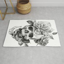 Black and white Skull and Roses Rug