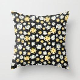 Watecolor Daisies Pattern | Black Throw Pillow