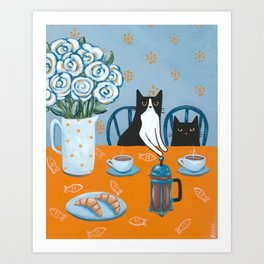 Cats and a French Press Art Print