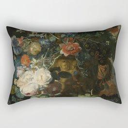 Jan van Huysum - Still life with flowers and fruits (1721) Rectangular Pillow