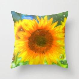 Pastel Sunflower Art Throw Pillow