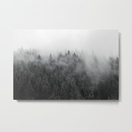 Black and White Mist Ombre Metal Print
