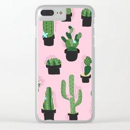 Cute Cacti Clear iPhone Case