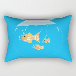 Three Goldfishes In a Water Bowl Rectangular Pillow