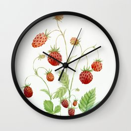 Wild Strawberries Wall Clock