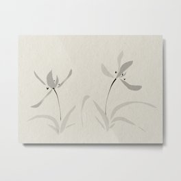 Japanese orchid Asian style brush painting Metal Print