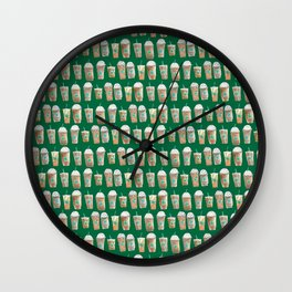 Coffee Cup Line Up in Green Wall Clock
