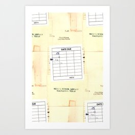 Library Book Date Due Card Art Print