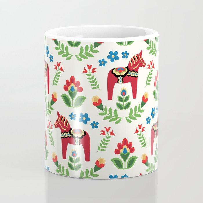 Swedish Dala Horses Red Coffee Mug