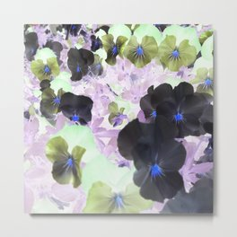 Pansy Flowers Negative Style Metal Print