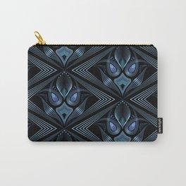 Art Deco 37. Black-blue satin . Carry-All Pouch