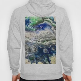 Black and green with white Space Ocean'20 abstract meditational art therapy  Hoody