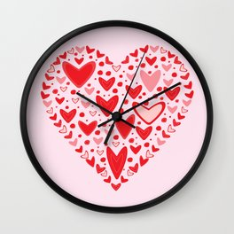 Love concept of hearts in the shape of a heart Wall Clock
