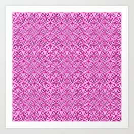 Pink Concentric Circle Pattern Art Print