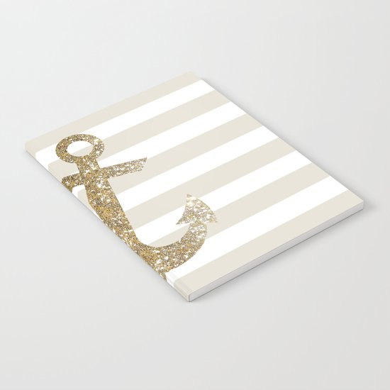 GLITTER ANCHOR IN GOLD Notebook
