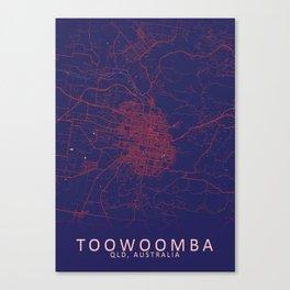 Toowoomba, QLD, Australia, Blue, White, City, Map Canvas Print