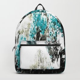 Turquoise & Gray Flowers Backpack