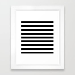 Midnight Black and White Stripes Framed Art Print