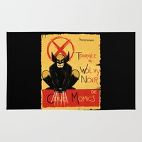 xmen Area & Throw Rugs featuring Wolvy the black cat by le.duc
