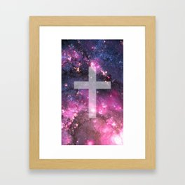 Galaxy Cross Framed Art Print