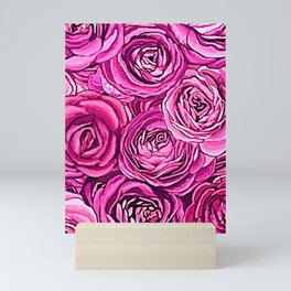 Pink roses romance floral all over print Mini Art Print