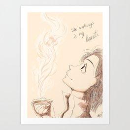 She is always in my heart  Art Print