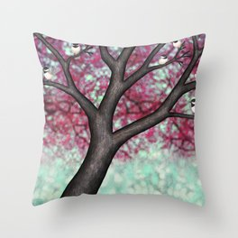 black capped chickadees and spring bokeh Throw Pillow