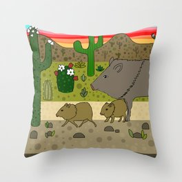 Javelinas in The Sonoran desert Throw Pillow