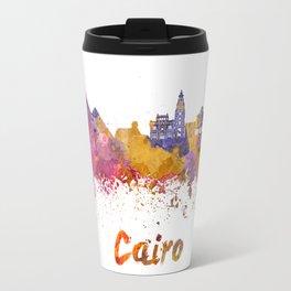 Cairo skyline in watercolor Travel Mug