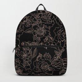 Pink coral tan black floral illustration pattern Backpack