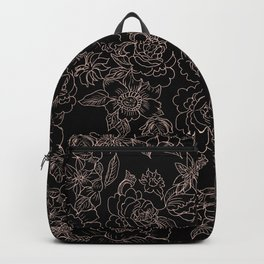 Pink coral tan black floral illustration pattern Backpack