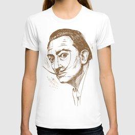 hand drawn portrait of salvador dali. illustration T-shirt
