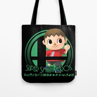 smash bros Tote Bags featuring Villager - Super Smash Bros. by Donkey Inferno