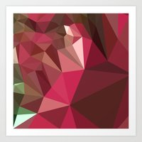 jazzberry Art Prints featuring Jazzberry Jam Purple Abstract Low Polygon Background by patrimonio