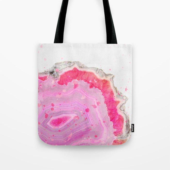 Pink Agate Watercolor Tote Bag