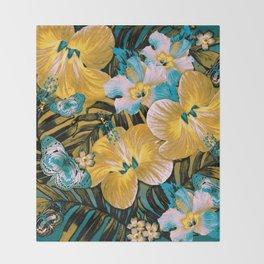 Golden Vintage Aloha Throw Blanket